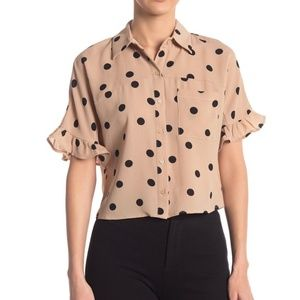 June & Hudson Polka Dot Ruffle Sleeve Blouse